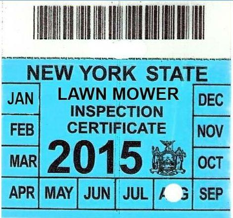 ... picture of a state lawn mower inspection sticker according to Barmore.  The Gerry Republican says he has been in touch with area state lawmakers  and they ...